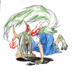 1girl ex-keine extra_eyes horn_ribbon horns kamishirasawa_keine kamishirasawa_keine_(hakutaku) kobushi looking_at_viewer paws red_eyes ribbon sketch tail touhou traditional_media transformation vomiting watercolor_(medium)
