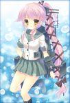 1girl asymmetrical_hair kantai_collection kouta. mecha_musume pink_hair school_uniform serafuku side_ponytail skirt yellow_eyes yura_(kantai_collection)