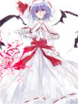 1girl arms_at_sides asymmetrical_wings capelet curiosities_of_lotus_asia energy expressionless hat lavender_hair long_dress long_sleeves looking_at_viewer red_eyes remilia_scarlet rough short_hair solo standing tian_(my_dear) touhou wings