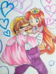 1boy 1girl blue_eyes bracelet brown_hair carrying crown dress earrings elbow_gloves eyebrows facial_hair gem gloves heart jewelry long_hair mario_(series) mustache omu_(sinsindan) overalls princess princess_carry redhead shokora-hime smile thick_eyebrows wario wario_land white_gloves