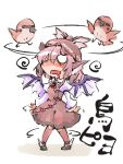 1girl animal_ears bird bow chibi confused dazed dress drooling hat mystia_lorelei pink_hair shinapuu short_hair simple_background solo sparrow touhou translation_request white_background wings