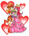 2girls blue_eyes boots bracelet cabbie_hat character_doll crown doll dress elbow_gloves facial_hair gloves gown hat heart jewelry long_hair mario_(series) mona_(warioware) multiple_girls mustache omu_(sinsindan) orange_hair redhead shokora-hime shorts smile wario wario_land warioware