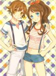 1boy 1girl alternate_costume blue_eyes brown_eyes brown_hair crop_top grin hair_ribbon hand_on_hip hand_on_shoulder long_hair looking_at_viewer lowres midriff pokemon pokemon_(game) pokemon_bw ponytail ribbon shirt short_hair short_shorts shorts smile striped striped_shirt suspenders touko_(pokemon) touya_(pokemon) zges