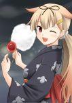 1girl blonde_hair bow candy_apple cotton_candy fuuma_nagi hair_bow hair_ribbon japanese_clothes kantai_collection kimono long_hair one_eye_closed ponytail red_eyes ribbon yukata yuudachi_(kantai_collection)