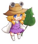 1girl blonde_hair blue_eyes child dress fang hair_ribbon hat leaf long_sleeves looking_at_viewer moriya_suwako open_clothes open_shirt oversized_clothes purple_dress ribbon satorichan shirt simple_background sleeves_past_wrists smile solo standing thigh-highs touhou white_background white_legwear wide_sleeves younger zettai_ryouiki