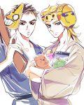 2boys blonde_hair brown_hair coco_jumbo giorno_giovanna gold_experience guido_mista japanese_clothes jojo_no_kimyou_na_bouken kimono mapi mask_on_head multiple_boys stand_(jojo) stuffed_animal stuffed_toy teddy_bear yukata