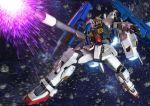 3d asteroid beam_rifle energy_gun firing gundam mecha no_humans robographer solo space super_gundam zeta_gundam
