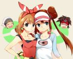 2boys 2girls :t blue_eyes bow breast_press brown_hair double_bun fanny_pack hair_ribbon haruka_(pokemon) haruka_(pokemon)_(remake) hat heads kyouhei_(pokemon) long_hair mei_(pokemon) multiple_boys multiple_girls open_mouth poke_ball_theme pokemon pokemon_(game) pokemon_bw2 pokemon_oras pout raglan_sleeves ribbon shovelwall sleeveless sleeveless_shirt twintails two_side_up visor_cap yuuki_(pokemon) yuuki_(pokemon)_(remake)