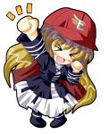 baseball_cap chibi clenched_hands hat hiiragi_tomoka hijiri_byakuren nippon_professional_baseball raised_fist simple_background solo touhoku_rakuten_golden_eagles touhou