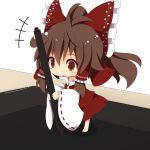 1girl beni_shake bow brown_eyes brown_hair chibi hair_bow hair_tubes hakurei_reimu long_sleeves minigirl open_mouth pen ponytail shirt skirt skirt_set solo tablet touhou wide_sleeves