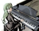 alternate_costume cover female formal frog from_above grand_piano green_eyes green_hair hair_ornament instrument kochiya_sanae kyuu_umi long_hair pant_suit parody piano piano_bench solo suit touhou tuxedo