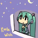 chibi detached_sleeves english green_hair hatsune_miku looking_up moon necktie night night_sky open_mouth pleated_skirt sky star_(sky) starry_sky stars twintails vocaloid