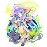 blue_hair book cat hat krile_shikisima lump_of_sugar magic nursery_rhyme red_eyes stars wand