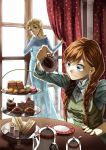 2girls anna_(frozen) blonde_hair blue_eyes braid cake cup curtains dress elsa_(frozen) food frozen frozen_(disney) fruit highres hoshiyoruno long_hair looking_at_another looking_back multiple_girls orange_hair pastry sandwich saucer strawberry surprised table tea teacup teapot twin_braids window