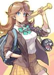 1girl bag banchou baseball_bat blazer blue_eyes breasts brown_hair cameo chain_chomp earrings gebyy-terar hand_in_pocket jewelry long_hair luigi nintendo plaid plaid_skirt princess_daisy school_uniform skirt solo super_mario_bros.