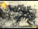 aircraft airplane assault_rifle battle building bullet_casing cartridge city damaged firing fleet flying gia gun jet machine_gun mecha motion_blur original rifle robot science_fiction signature space_craft starfighter weapon