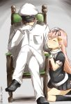 1boy 1girl admiral_(kantai_collection) black_legwear chair closed_eyes crossed_legs fingerless_gloves gloves glowing glowing_eyes hair_ornament hair_ribbon hairclip hand_on_another's_head hat highres kantai_collection kneehighs kneeling long_hair military musk_tiger peaked_cap petting pink_hair ribbon school_uniform sitting twitter_username white_scarf yuudachi_(kantai_collection)