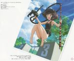 1girl absurdres black_swimsuit brown_eyes brown_hair casual_one-piece_swimsuit clouds girls_und_panzer goggles highres holding jumping measuring_stick messy_hair nishizumi_miho official_art one-piece_swimsuit open_mouth outdoors pool scan sky smile snorkel solo sugimoto_isao swimsuit tree
