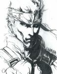 1boy darshima face headband highres metal_gear_(series) metal_gear_solid monochrome official_style solid_snake solo traditional_media