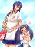 2girls armlet ayuhara_natsu bag blue_hair duffel_bag hair_ribbon heart karuizawa_momo morito_leaf9 multiple_girls racket ribbon rival_schools school_uniform short_hair tennis_racket twintails