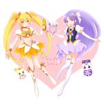 2girls arm_warmers blonde_hair boots brooch creature crop_top cure_fortune cure_sunshine earrings flower fortune_tambourine gurasan_(happinesscharge_precure!) hair_flower hair_ornament hair_ribbon happinesscharge_precure! heart heart_hair_ornament heartcatch_precure! hikawa_iona instrument jewelry knee_boots long_hair magical_girl multiple_girls myoudouin_itsuki nora_kichi orange_skirt potpourri_(heartcatch_precure!) precure puffy_sleeves purple_hair purple_skirt ribbon shiny_tambourine skirt smile tambourine thigh-highs thigh_boots twintails violet_eyes weapon_connection white_legwear wrist_cuffs yellow_eyes
