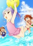 3girls ball beachball bikini blue_eyes blush brown_eyes brown_hair koshigaya_komari koshigaya_natsumi loli long_hair miyauchi_renge multiple_girls non_non_biyori open_mouth purple_hair school_swimsuit swimsuit twintails water