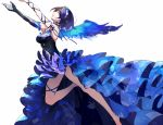 1girl arms_up blue_eyes blue_hair blush breasts character_request dress hair_ornament idolmaster idolmaster_cinderella_girls large_breasts legs open_mouth ribbon short_hair single_glove smile solo wings yuura