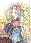 1girl flower hair_ornament hair_rings hair_stick heterochromia japanese_clothes kimono kiseru long_hair nekozuki_yuki original pipe red_eyes silver_hair smile solo unmoving_pattern violet_eyes