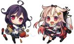 2girls chibi kantai_collection multiple_girls namanie purple_hair red_eyes tagme taigei_(kantai_collection) yuudachi_(kantai_collection)