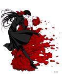 black_hair brown_hair coat dress flower glasses gloves grell_sutcliff hug kiss kuroshitsuji long_hair madam_red ponytail red_bow red_dress red_gloves redhead rose shoes short_hair