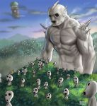 bald cameo forest giant howl_no_ugoku_shiro kodama manly matataku mononoke_hime muscle nature odd_one_out studio_ghibli tree_top