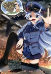 >:d 1girl :d airplane america black_legwear black_shoes blue_eyes blue_hair blue_jacket blue_skirt burning buttons caveman cigar curtis_lemay dark_sky english fang fire genderswap hand_on_thigh hat highres horns iinuma_toshinori jacket long_hair long_sleeves mc_axis military military_cap military_hat military_jacket military_uniform missile necktie open_mouth original outdoors outstretched_arm peaked_cap pocket real_life shoes skirt sky smile solo speech_bubble star text thigh-highs translation_request uniform us_air_force zettai_ryouiki