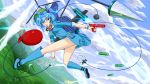1girl backpack bag balloon between_breasts blue_eyes blue_hair blue_sky boots bullet clouds drill hair_bobbles hair_ornament hat highres kawashiro_nitori key missile mountain no_panties pocket river rock rubber_boots scenery short_hair short_sleeves short_twintails sky solo touhou tsukidaruma twintails upskirt water water_balloon water_gun weapon wrench