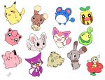 amezawa_koma budew buneary clefairy flabebe jigglypuff marill minccino no_humans pikachu pokemon pokemon_(creature) purrloin shroomish simple_background skitty sunkern white_background