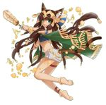 1girl :3 :d animal_ears anklet armlet bare_shoulders barefoot bastet_(p&d) bracelet brown_hair cat_ears cat_tail cross-laced_legwear dark_skin egyptian egyptian_clothes fang full_body green_eyes hair_ornament headpiece holding instrument jewelry long_hair looking_back mochi_(shipir) musical_note navel open_mouth outline puzzle_&_dragons simple_background skirt smile solo tail white_background white_skirt