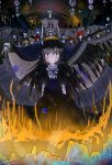 6+girls black_hair clara_dolls_(madoka_magica) dress feathered_wings fire flower funeral_dress hairband highres homulilly long_hair looking_at_viewer mahou_shoujo_madoka_magica mahou_shoujo_madoka_magica_movie multiple_girls red_eyes ribs ruins skeletal_arm spider_lily spoilers tagme toufu_tofu wings witch_(madoka_magica)