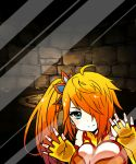 1girl against_glass ahoge aqua_eyes bare_shoulders breast_press breasts breasts_on_glass china_dress chinese_clothes cleavage dress elbow_gloves fingerless_gloves fourth_wall glass gloves large_breasts leiran_(p&d) long_hair looking_at_viewer orange_dress orange_gloves orange_hair phone_screen phone_wallpaper pikomarie ponytail puzzle_&_dragons side_ponytail sleeveless sleeveless_dress smile solo stone stone_wall wall wallpaper