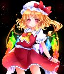 1girl :/ ascot black_background blonde_hair contrapposto flandre_scarlet hat hat_ribbon juemid_luna looking_at_viewer mob_cap puffy_short_sleeves puffy_sleeves red_eyes ribbon short_hair short_sleeves side_ponytail skirt skirt_hold skirt_set solo sparkle touhou wind wrist_cuffs