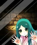 1girl against_glass amaterasu_(p&d) aqua_hair fourth_wall glass green_eyes japanese_clothes kimono long_hair long_sleeves looking_at_viewer phone_screen phone_wallpaper pikomarie puzzle_&_dragons reflection smile solo stone stone_wall wall wallpaper