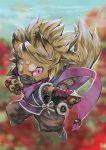 ambiguous_gender armor blame blonde_hair fighting_stance flower kemono mask ninja_clothes original pink_eyes scarf scroll slit_eyes solo