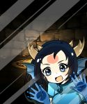 1girl :d against_glass black_hair blue_dress blue_gloves china_dress chinese_clothes dragon_girl dragon_horns dress fourth_wall glass gloves head_fins horns karin_(p&d) long_hair looking_at_viewer open_mouth phone_screen phone_wallpaper pikomarie puzzle_&_dragons short_sleeves smile solo stone stone_wall wall wallpaper