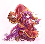 1girl animal_ears garter_straps green_eyes hat league_of_legends long_hair looking_at_viewer lulu_(league_of_legends) older open_clothes open_mouth open_shirt pix purple_hair purple_skin solo staff sueyen thigh-highs wings