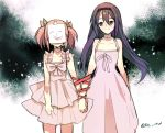 2girls akemi_homura black_hair choker crying dress hair_ribbon hairband holding_hands interlocked_fingers jewelry kaname_madoka long_hair looking_at_another mahou_shoujo_madoka_magica mahou_shoujo_madoka_magica_movie multiple_girls pc_(z_yu) pink_hair red_ribbon ribbon short_hair short_twintails signature single_earring smile smiley_face spoilers twintails violet_eyes what_if white_background white_dress yellow_ribbon