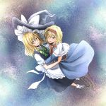 2girls alice_margatroid apron ascot blonde_hair blue_dress blue_eyes blush boots braid capelet cross-laced_footwear dress hair_ribbon hairband hat hug kirisame_marisa long_hair mary_janes multiple_girls nip_to_chip one_eye_closed open_mouth ribbon shoes short_hair side_braid smile socks touhou waist_apron witch_hat yellow_eyes yuri