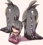 black_hair blush extra_mouth hakama japanese_clothes long_hair mawile mega_pokemon no_humans payot pink_eyes pokemon pokemon_(game) pokemon_xy seiza sitting solo tokyo_(great_akuta) wide_sleeves
