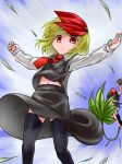 2girls black_hair blonde_hair blouse camera hair_ribbon hat leaf marijuana multiple_girls outstretched_arms qbthgry red_eyes ribbon rumia shameimaru_aya short_hair skirt spread_arms thigh-highs tokin_hat touhou vest