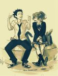 1boy 1girl couple happy highres ishida_shouya koe_no_katachi monochrome nishimiya_shouko ponytail sign_language viria