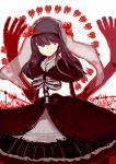 1girl akemi_homura black_hair dress flower funeral_dress hairband highres homulilly long_hair mahou_shoujo_madoka_magica mahou_shoujo_madoka_magica_movie ribs simple_background solo spider_lily spine spoilers tooth veil violet_eyes white_background witch_(madoka_magica)