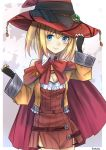 1girl blonde_hair blue_eyes blush bowtie breasts cleavage detached_collar dress fingerless_gloves gloves hand_on_headwear hat jacket long_hair looking_at_viewer original red_dress short_dress smile solo standing umasanjin witch_hat