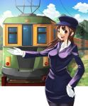1girl artist_request blush brown_eyes brown_hair gloves grass hat long_hair pantyhose rail skirt sky smile solo source_request train uniform white_gloves